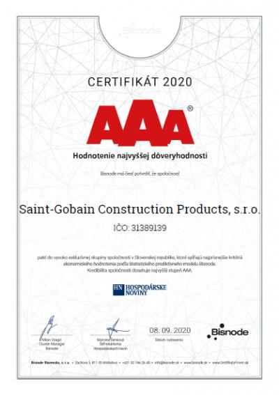 Saint-Gobain certifikat AAA