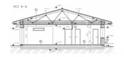 Priecny rez pre plan stavby domu z dreva