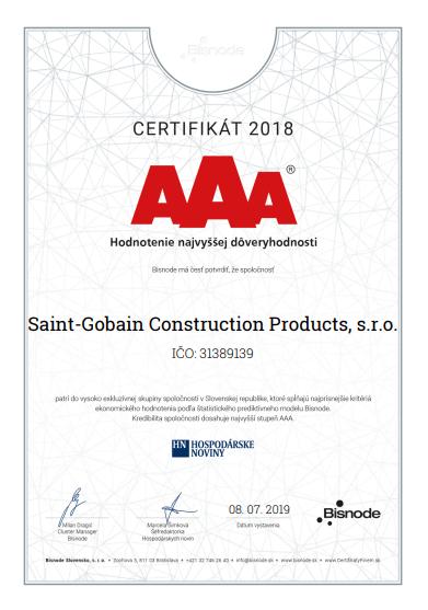 SAINT-GOBAIN ziskal certifikat BISNODE AAA