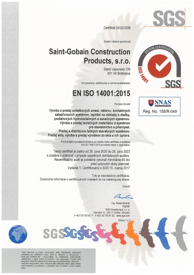 Isover certifikat ISO 14001
