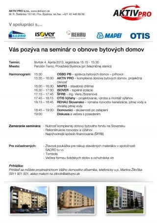 Seminar o rekonstrukcii bytovych domov 2013 o