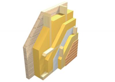 Skladba steny ramovej konstrukcie z dreva pre vystavbu monotovanych drevodomov