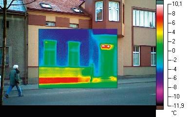 Tepelna mapa budovy bez zatepleneho sokla