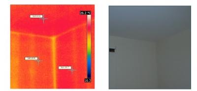 Termovizne snimky interiér, styk obvodových stien a stropu