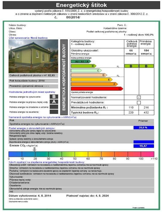 Energetický štítok budovy dokumentuje energetickú hospodárnosť budovy, zaradenie do príslušnej triedy