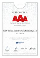 SAINT-GOBAIN ziskal certifikat BISNODE AAi