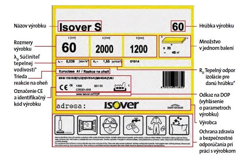 Etiketa výrobkov z kamennej (čadičovej) vlny ISOVER