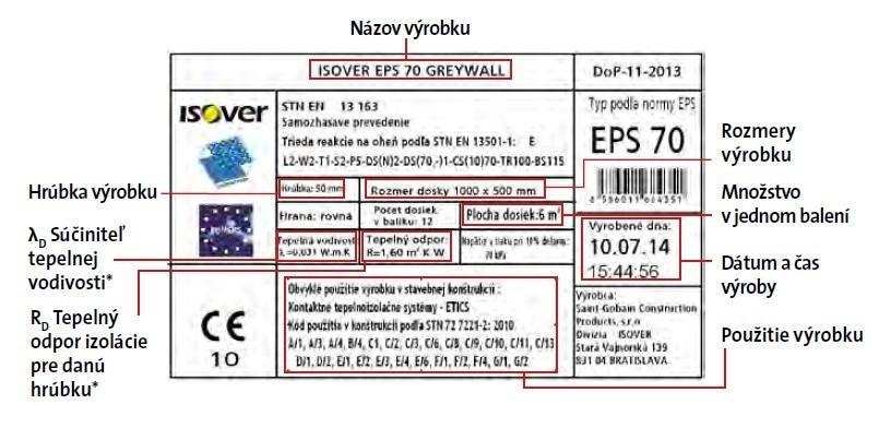 Etiketa výrobkov z expandovaného polystyrénu ISOVER EPS